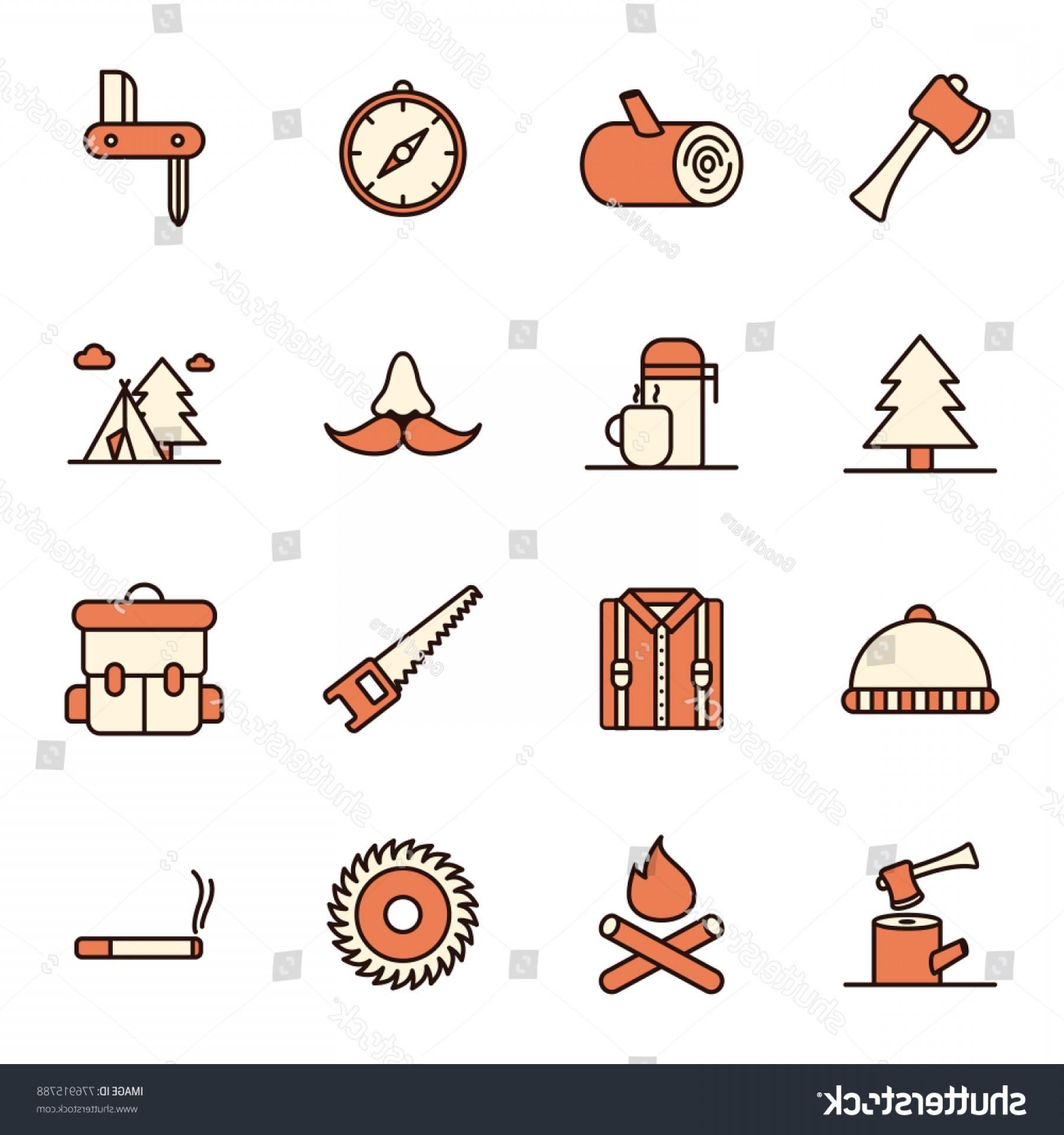 Icon set logging line. Lumberjack clipart woodcutter