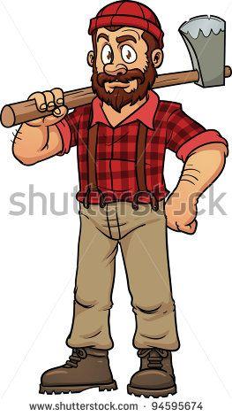Cartoon holding an axe. Lumberjack clipart woodcutter