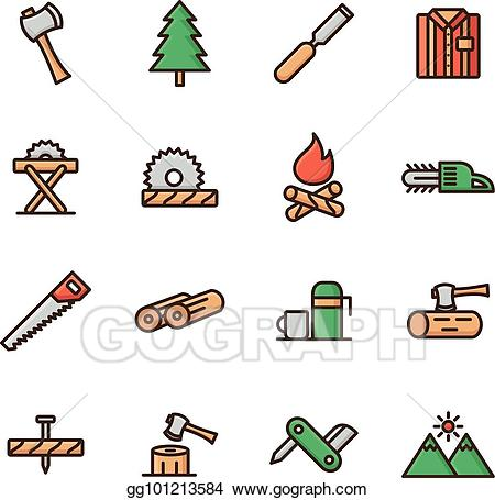 Lumberjack clipart woodcutter. Eps vector icon set