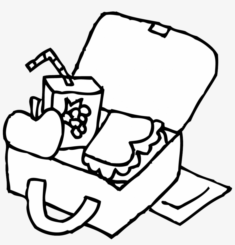 Lunch box black and. Lunchbox clipart outline