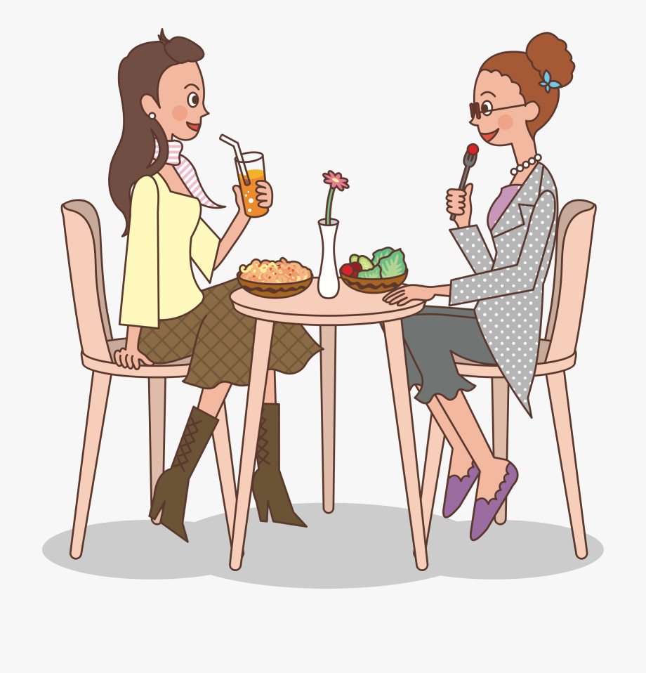 Ladies at big image. Lunch clipart dinner lady