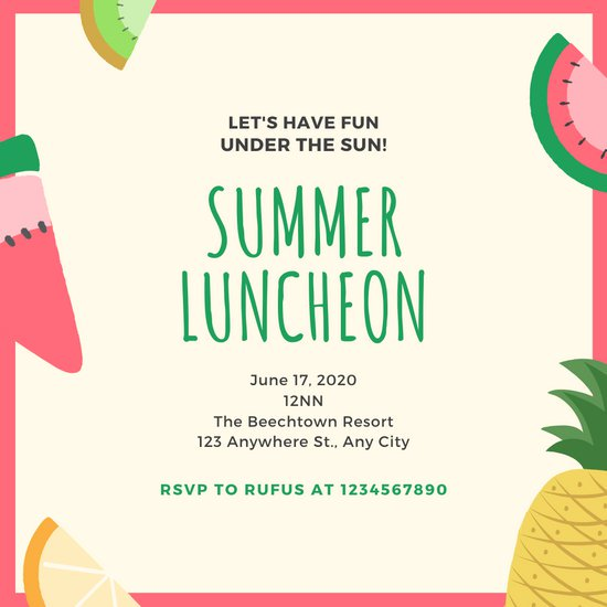 Tropical fruits colorful templates. Luncheon clipart lunch invitation