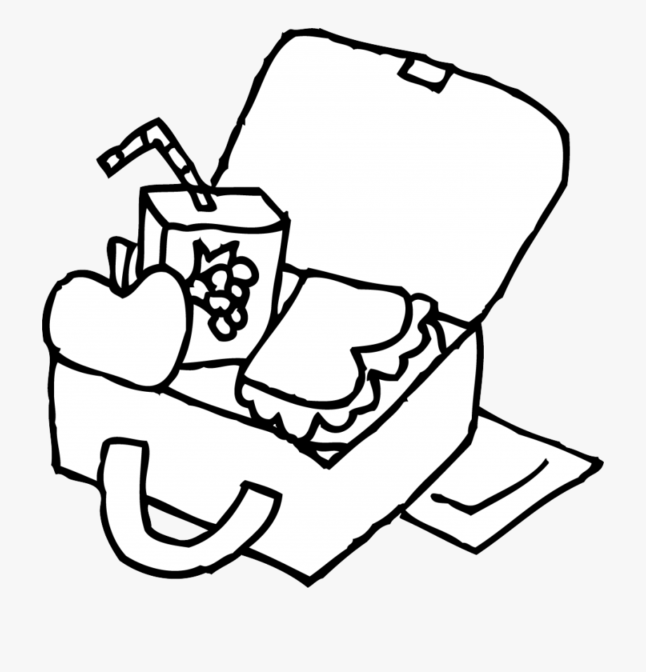 Lunch box for coloring. Lunchbox clipart black and white