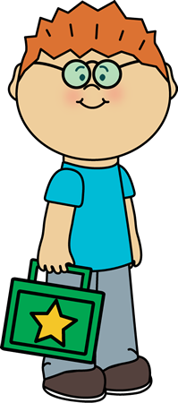Kid carrying lunch box. Lunchbox clipart boy