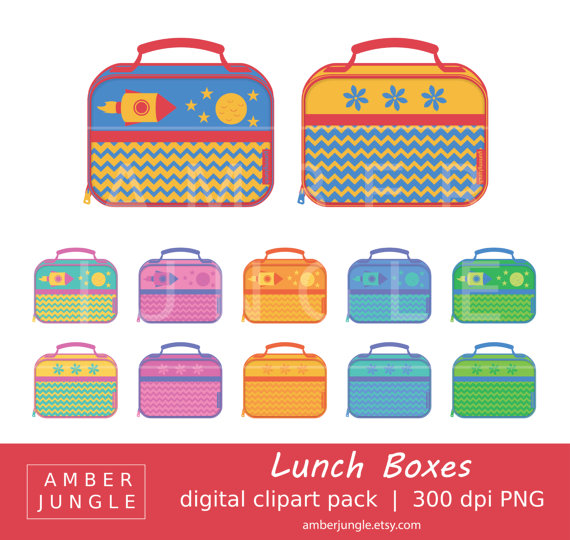Lunch box instant download. Lunchbox clipart grab bag