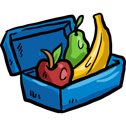 Fruit container diet food. Lunchbox clipart healthy eating
