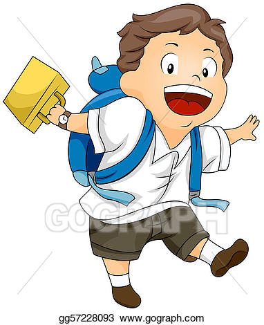 Lunchbox clipart kid. Stock illustration swinging his