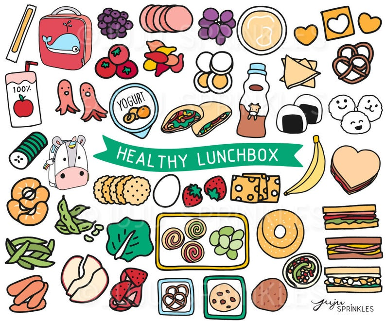 Lunchbox clipart lunch item. Healthy kids illustrations sandwich