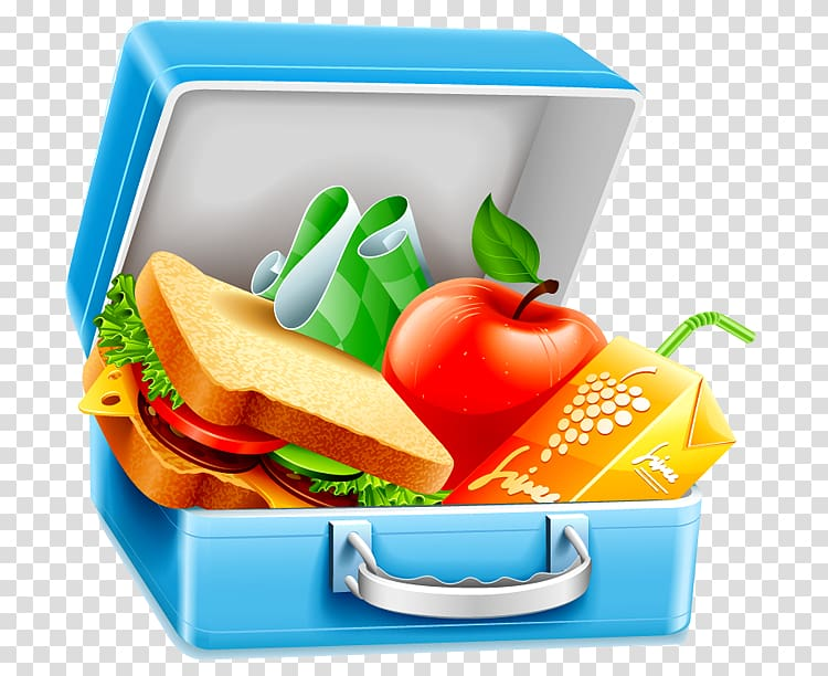Blue with foods illustration. Lunchbox clipart luncheon