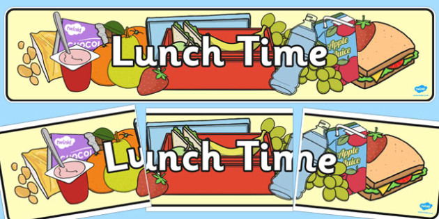 Luncheon clipart banner. Lunch time display
