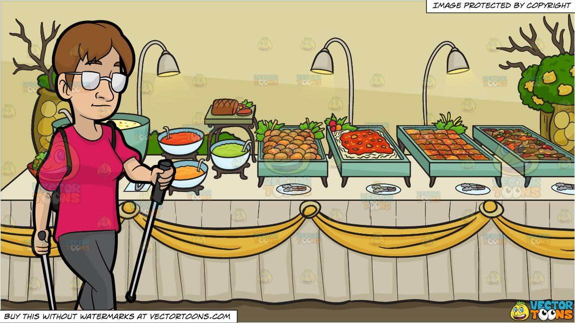 Luncheon clipart buffet table. Cartoon a female nordic