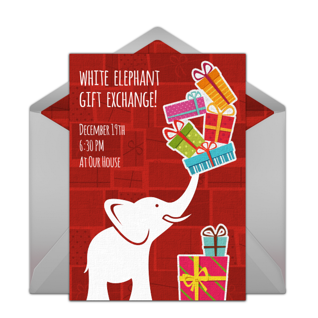 Luncheon clipart lunch invitation. Free white elephant gift