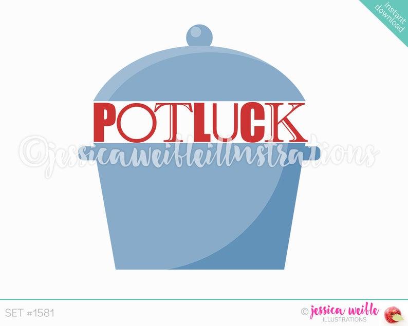 Crockpot clip art cute. Luncheon clipart potluck party