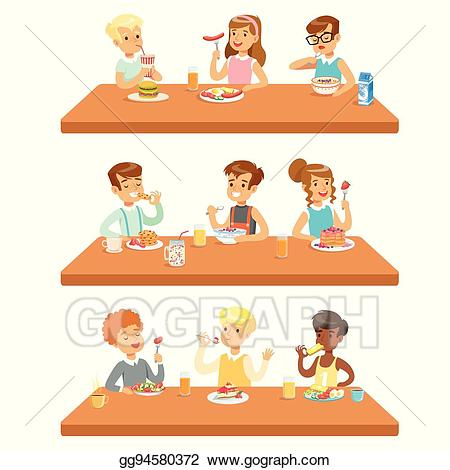Vector stock kids eating. Luncheon clipart table full food