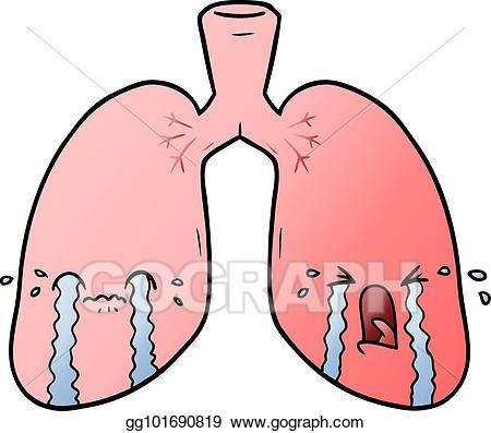 Lungs clipart cartoon. Vector illustration crying eps