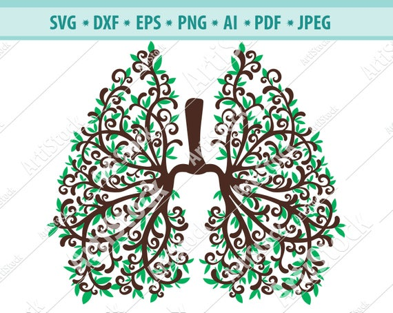 Lungs clipart human lung. Svg flowery silhouette vector