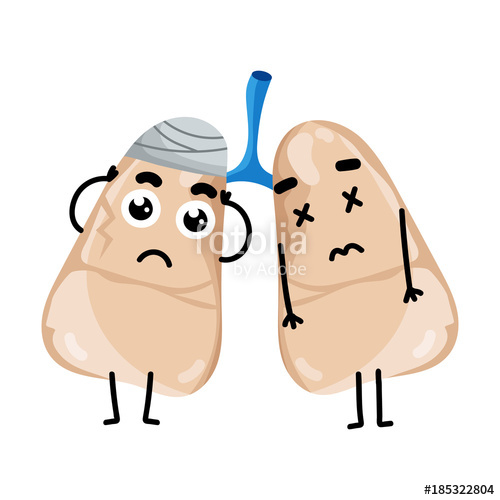 Lungs clipart sick. Human cartoon character stock