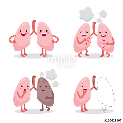 Lungs clipart sick. Healthy and sickness set