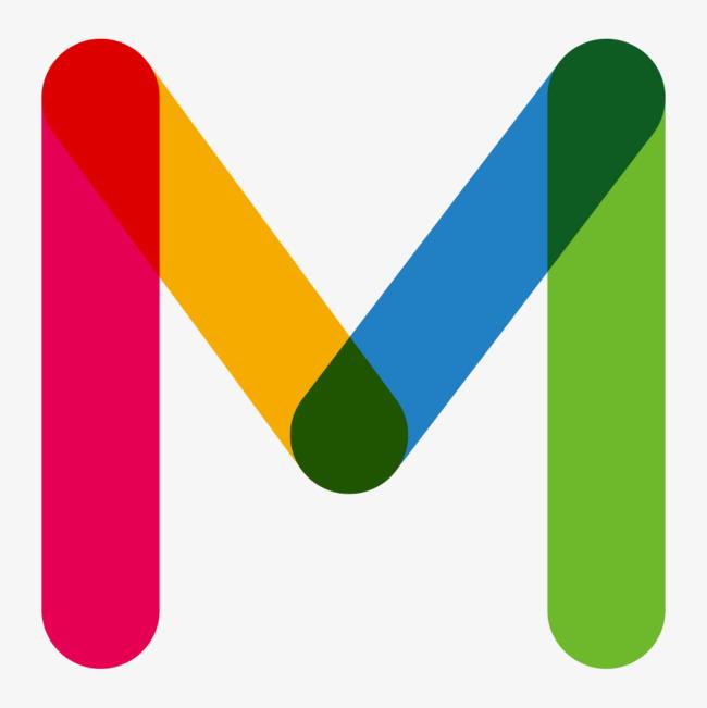M clipart. Color letters blue gules