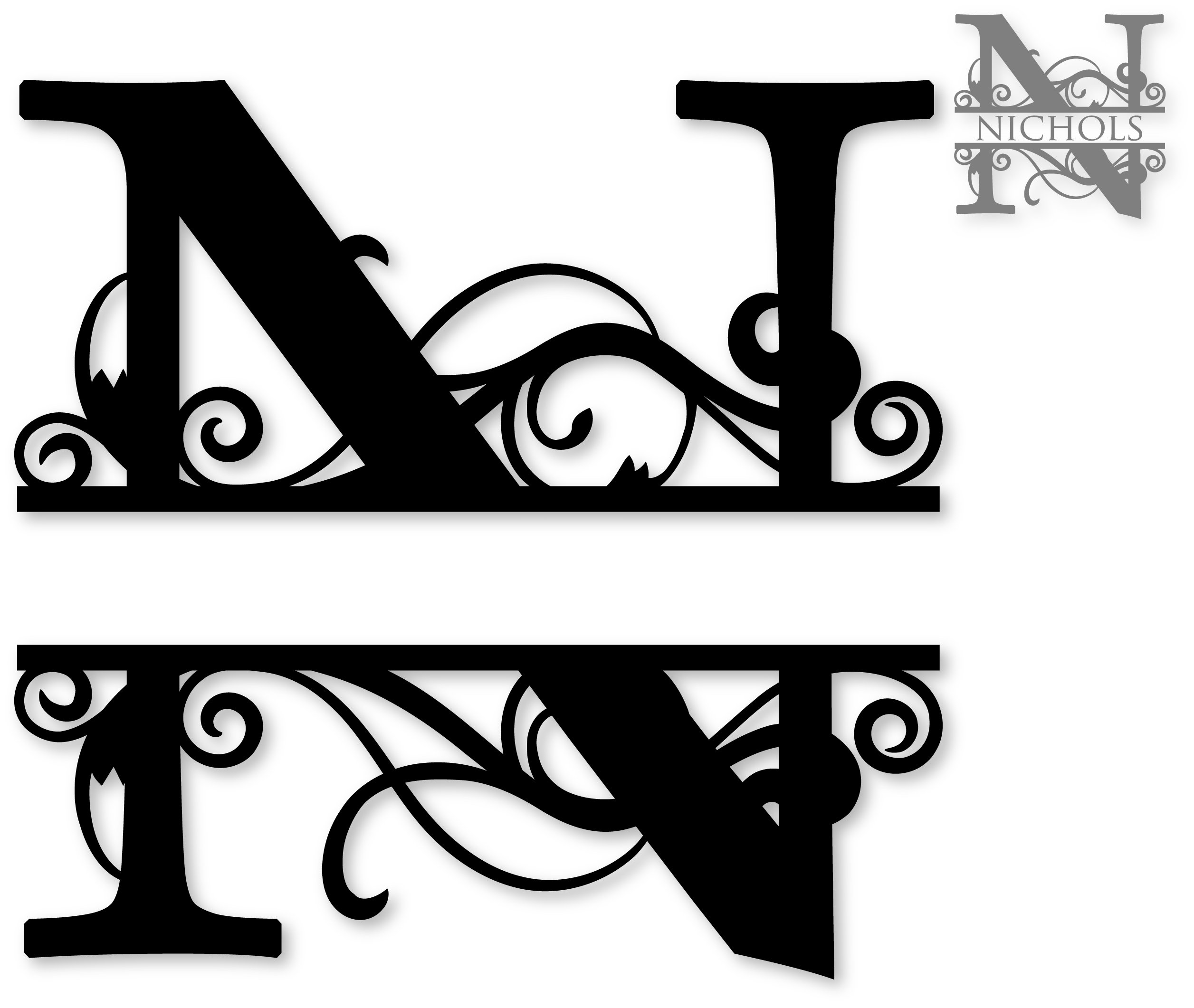 N split silhouette graphics. M clipart monogram