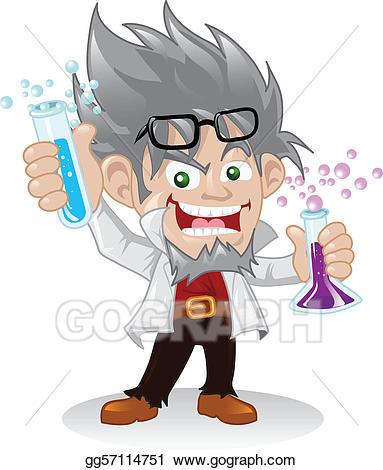 Vector scientist character . Mad clipart cartoon