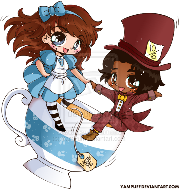 Mad clipart couple. Alice and the hatter