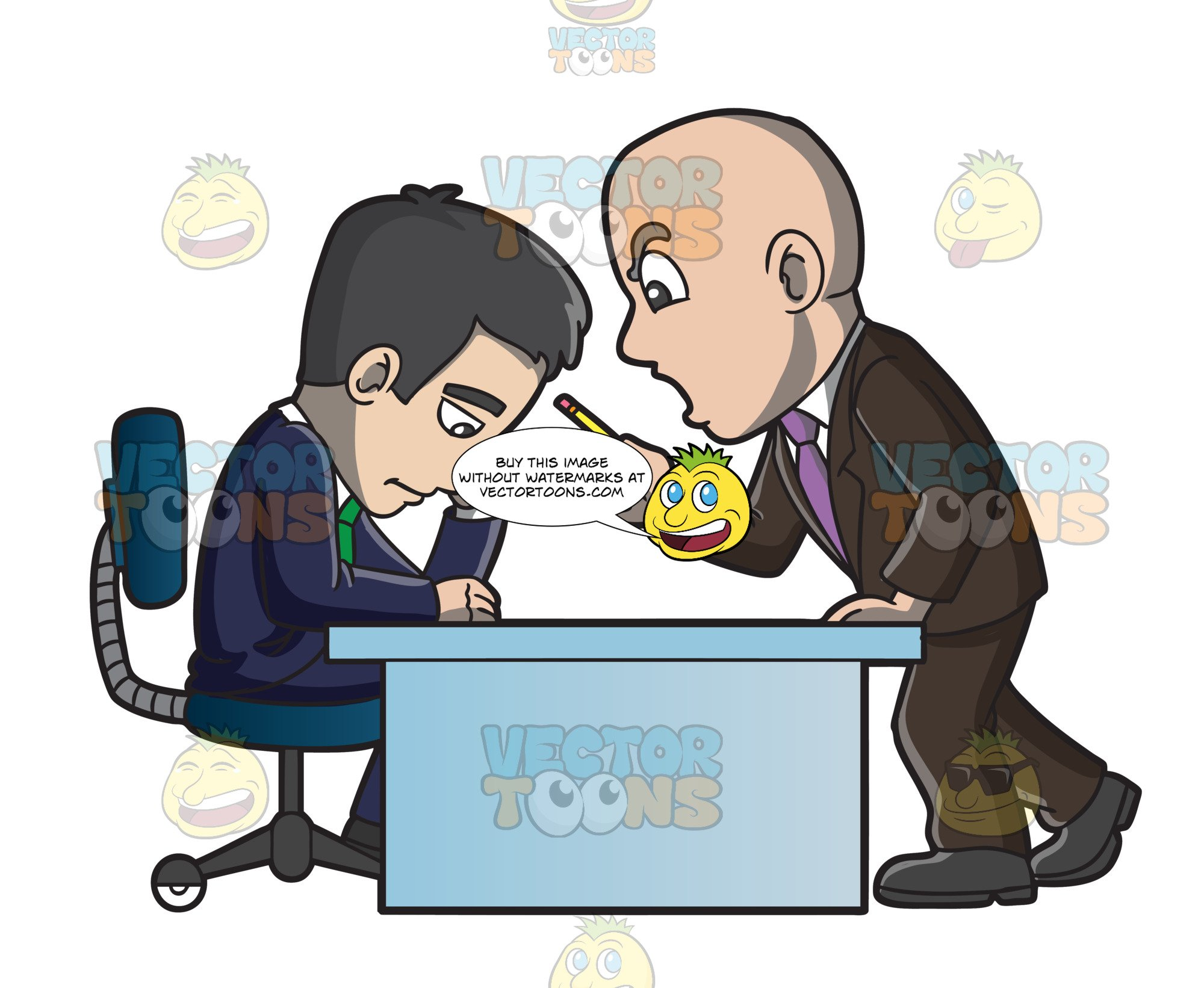 A scolding his employee. Mad clipart manager
