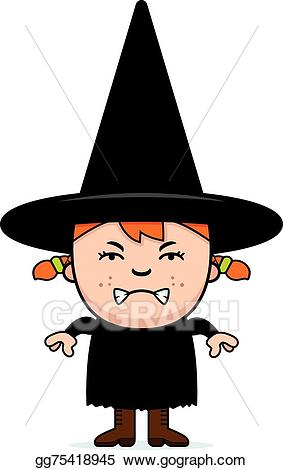 Vector stock child illustration. Witch clipart angry