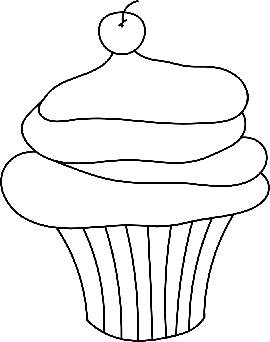 White clipart cupcake. Free line drawing download