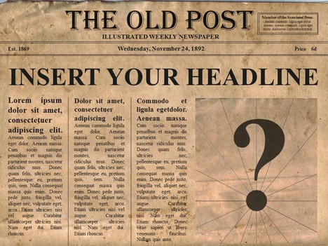 Newsletter clipart vintage newspaper. Free editable old powerpoint