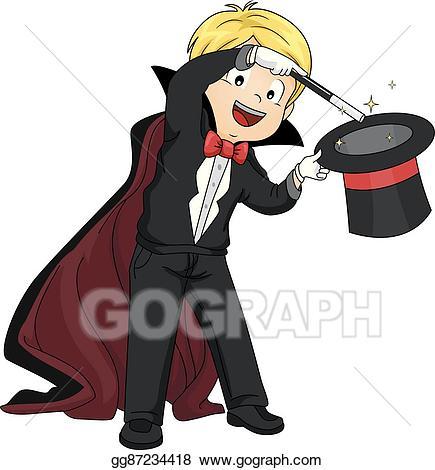 Magic clipart boy. Vector kid perform illustration