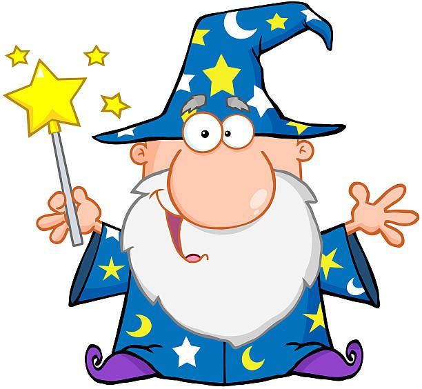 Magic clipart cartoon. Funny wizard waving with