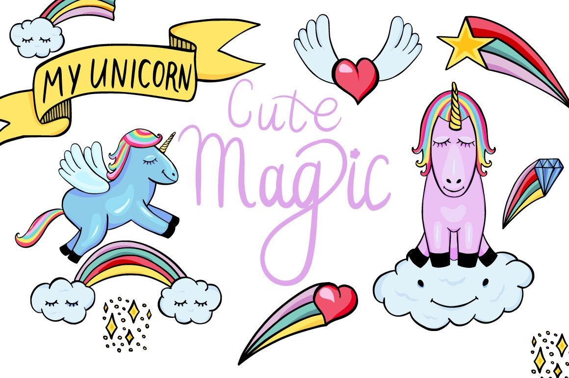 Magic clipart cute. Unicorns and pegasus by