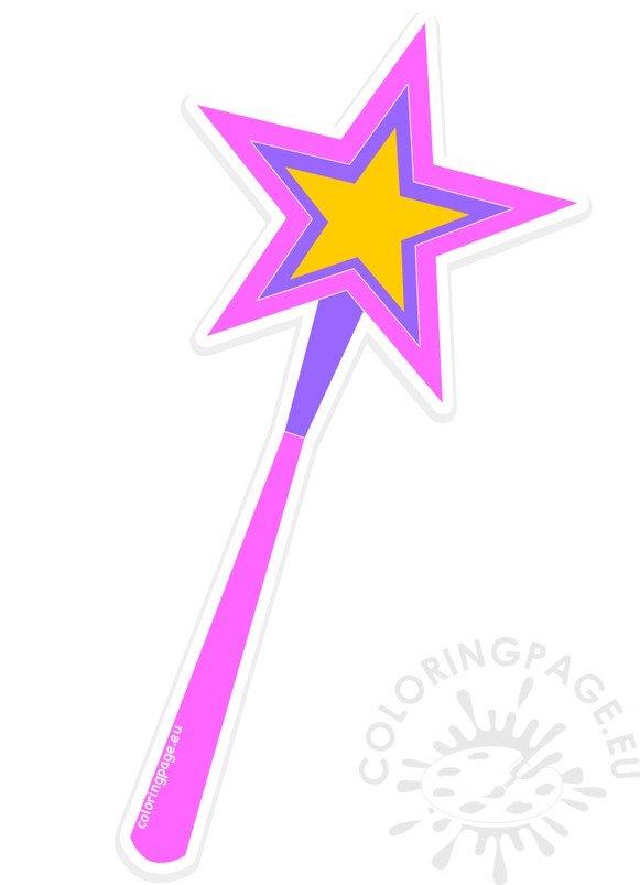 Magic clipart fairy wand. Princess coloring page