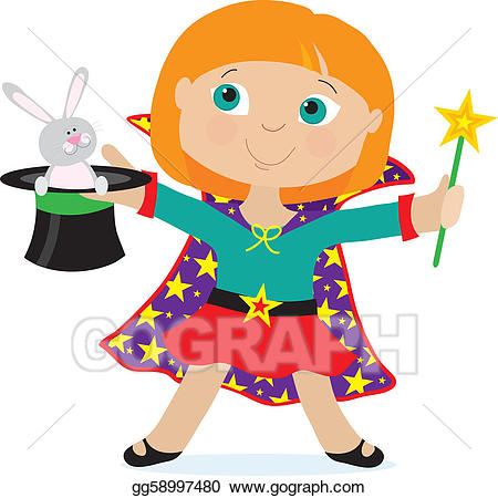 Magician clipart kid magician. Vector illustration girl eps