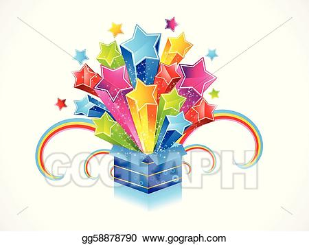 Magic clipart magic box. Vector abstract colorful