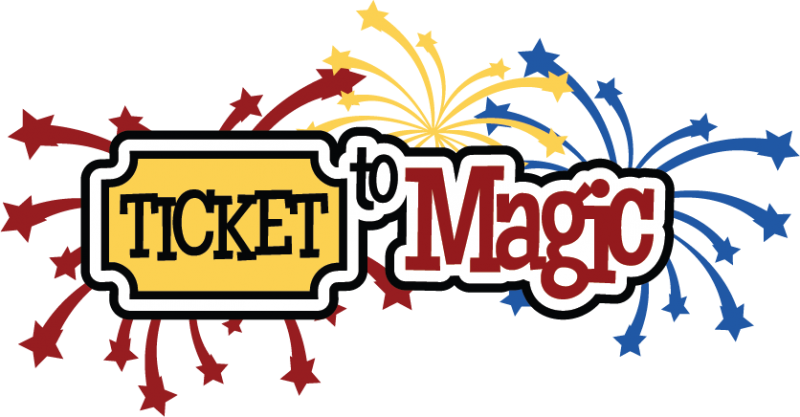 Ticket to scrapbook title. Magic clipart svg