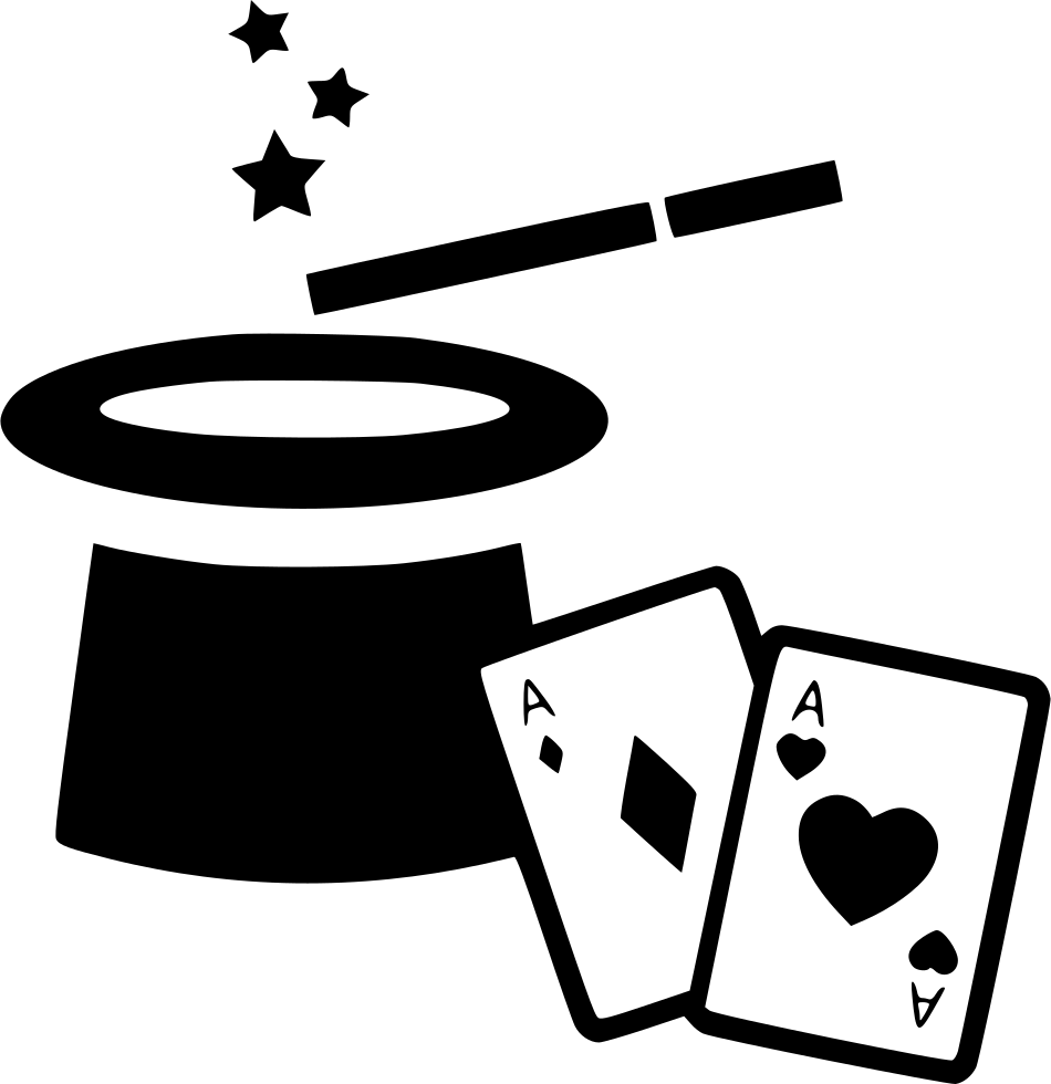Magic hat wand cards. Magician clipart magician card