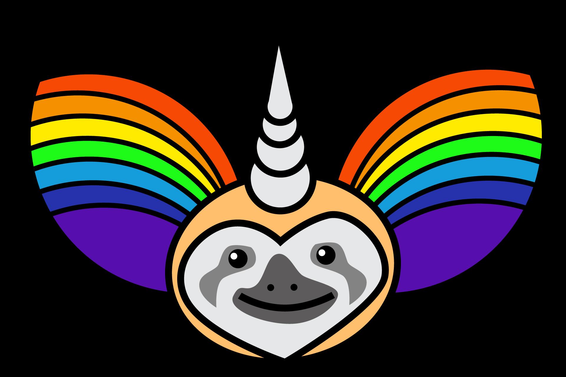 Slothicorn editable art puppet. Magic clipart vector png
