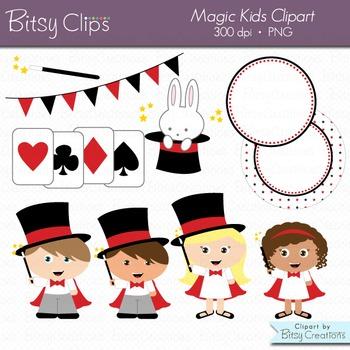 Magic kids digital art. Magician clipart
