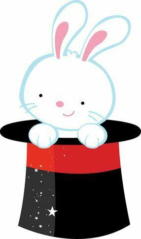 Rabbit in hat clip. Magician clipart