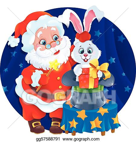 Eps illustration santa and. Magician clipart christmas