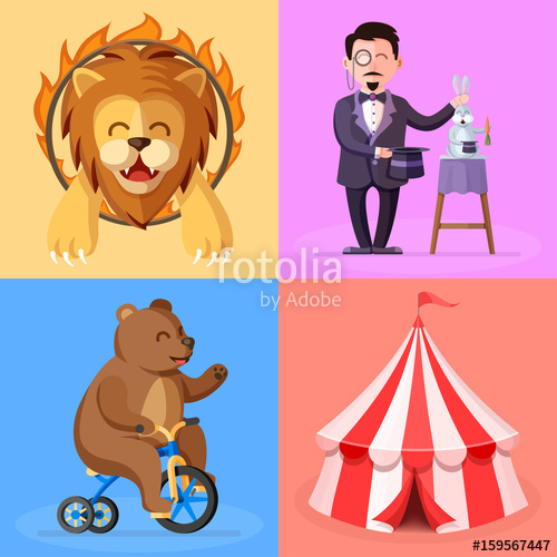 Cartoon style set with. Magician clipart circus character