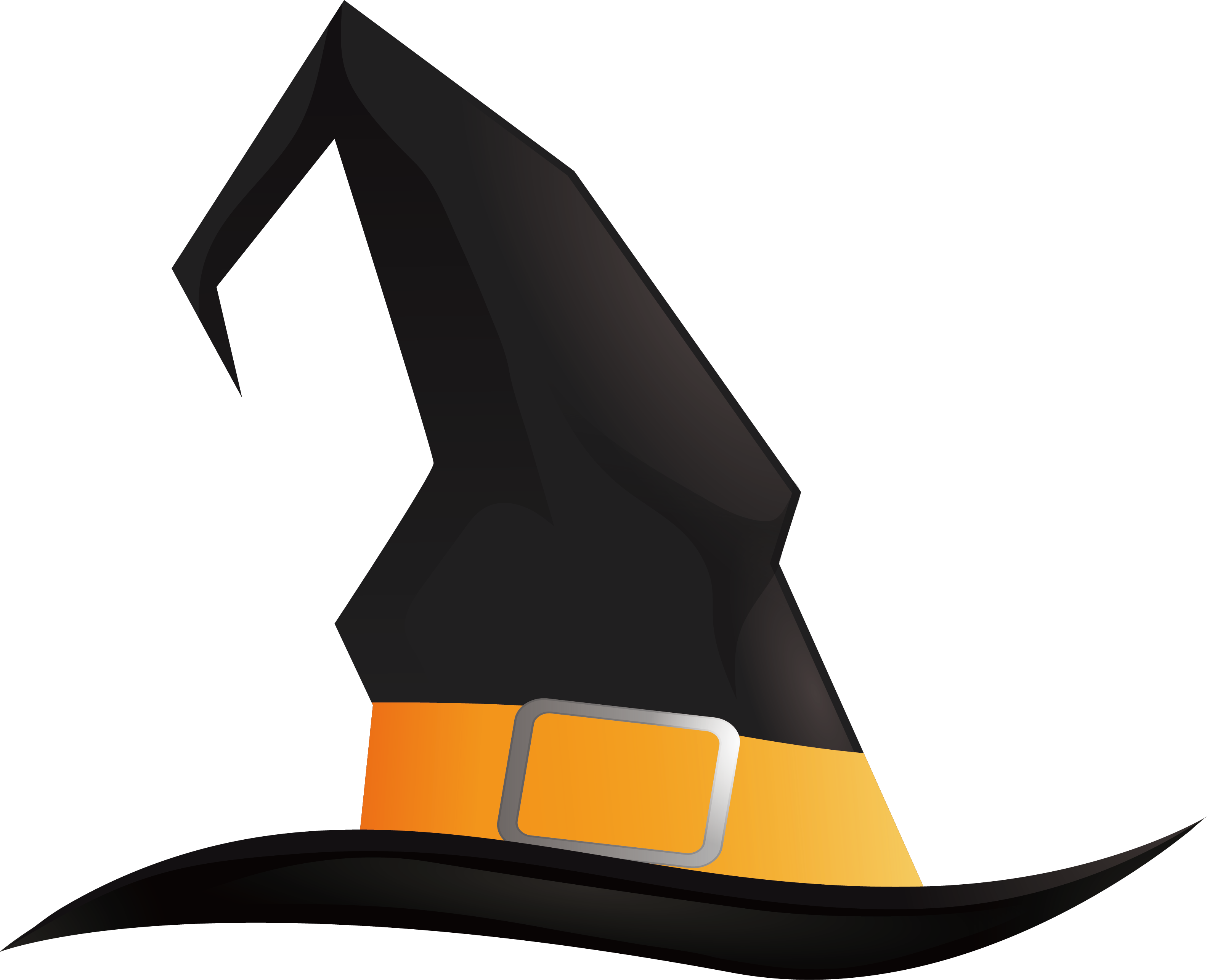 Witch pointed black wizard. Magician clipart halloween hat