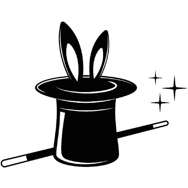 Magic logo trick rabbit. Magician clipart illusion