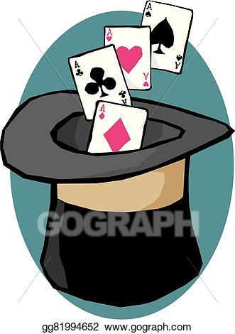 Magician clipart magician card. Eps vector magic hat