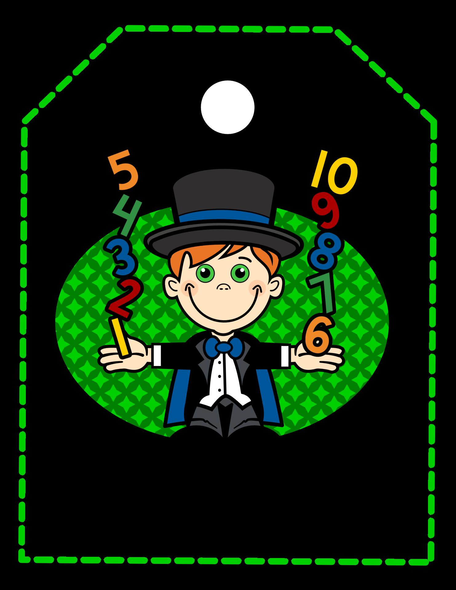 Magicians tag center poster. Magician clipart math magician