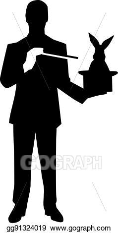 Vector art eps gg. Magician clipart silhouette