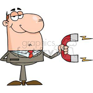 Magnet clipart cartoon.  businessman using a
