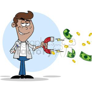 Magnet clipart different use. Teenager collecting money using